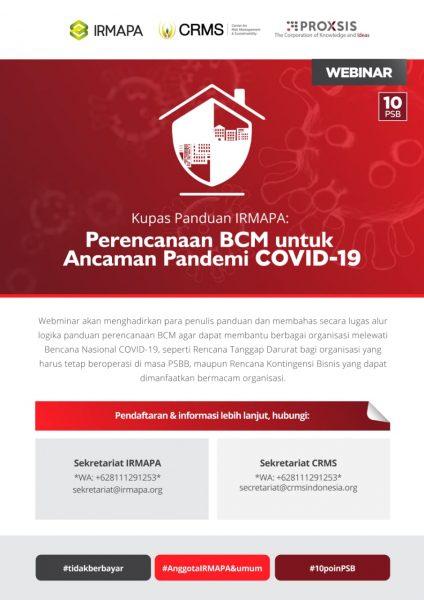 Webminar Kupas Panduan IRMAPA Perencanaan BCM untuk Ancaman Pandemi COVID-19